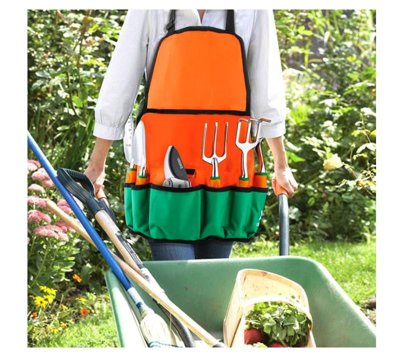 Ukoke 12 Pieces Aluminum Garden Tool Kit & Gardening Apron with Storage Pocket