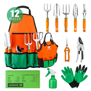 Ukoke 12 Piece Aluminum Garden Tool Kit & Gardening Apron with Storage Pocket