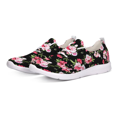 Peony Floral Print Lace Up Flyknit Shoe