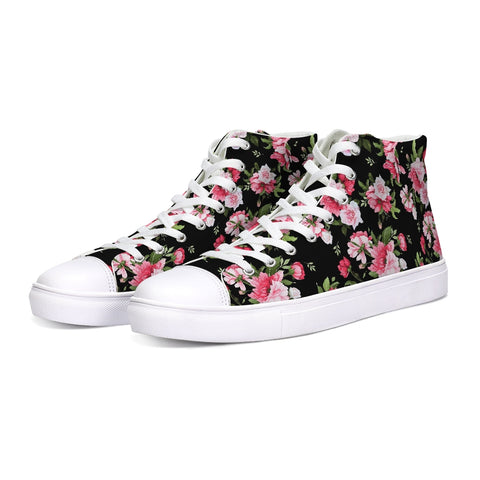 Peony Floral Print Hightop Canvas Shoe