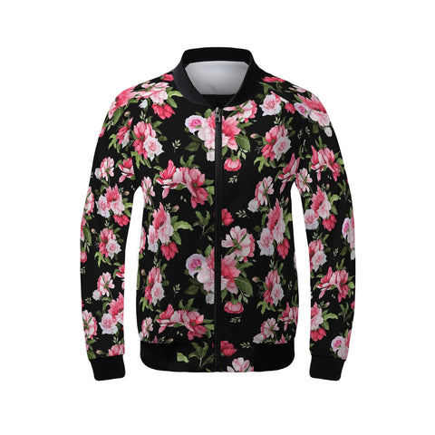 Peony Floral Print Women's Bomber Jacket