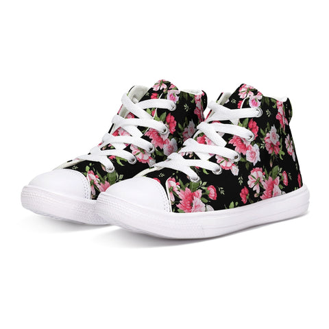 Peony Floral Print Kids Hightop Canvas Shoe