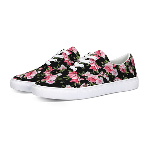 Peony Floral Print Lace Up Canvas Shoe