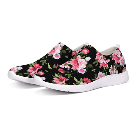 Peony Floral Print Slip-On Flyknit Shoe