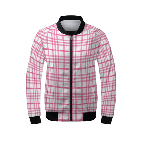 Plaid 1 Pink 2 Women's Bomber Jacket