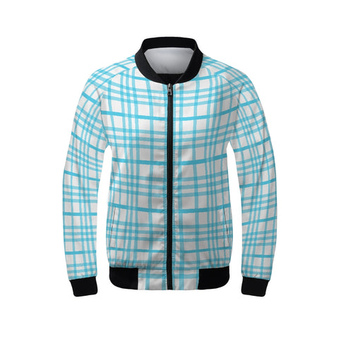 Plaid 1 Aqua Women's Bomber Jacket