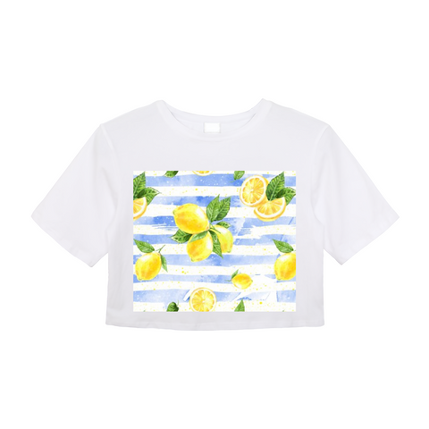 Summer Lemon Stripe Women's Crop Top