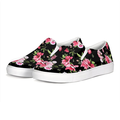Peony Floral Print Slip-On Canvas Shoe