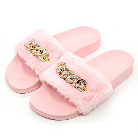 fur slippers with chain