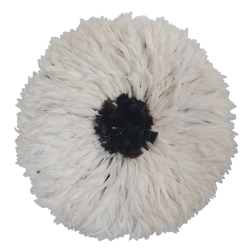 Juju hat - White with Dark Natural Fluffy Center Large