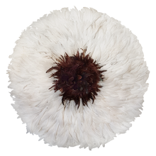 Load image into Gallery viewer, Juju hat - White w/ Fluffy Brown Center