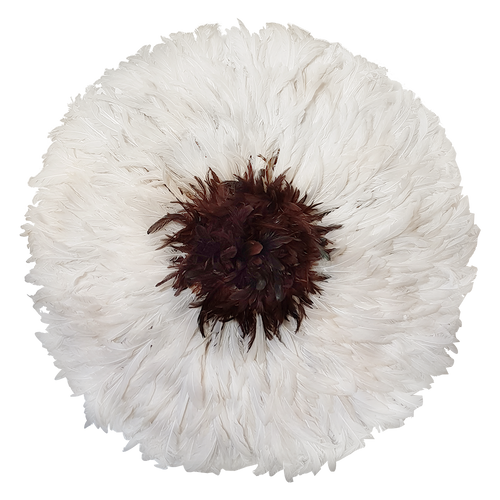 Juju hat - White w/ Fluffy Brown Center