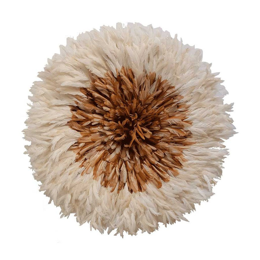 Juju hat - White and Light Brown Large