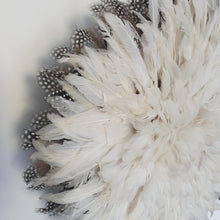Load image into Gallery viewer, Juju hat - White with Guinea Fowl Feathers Outside