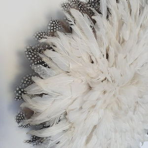 Juju hat - White with Guinea Fowl Feathers Outside