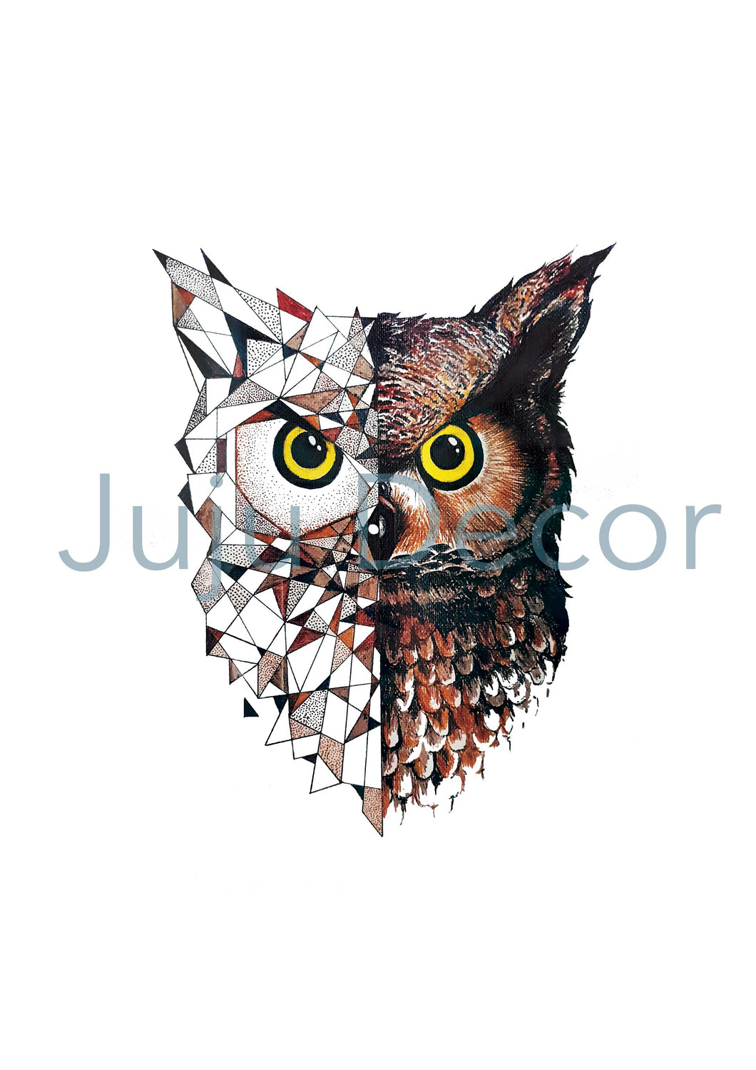 Illustration Print - Geometric Owl