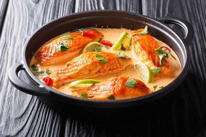 Poached Salmon In Laager Rooibos Coconut Sauce