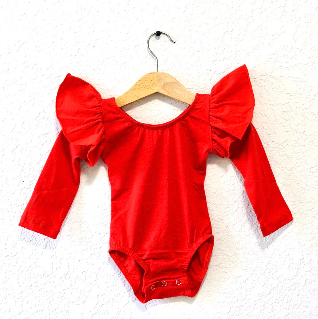 Red - Long Flutter Sleeve Leotard