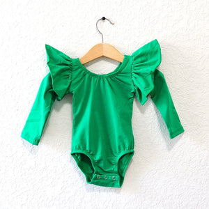 Green - Long Flutter Sleeve Leotard