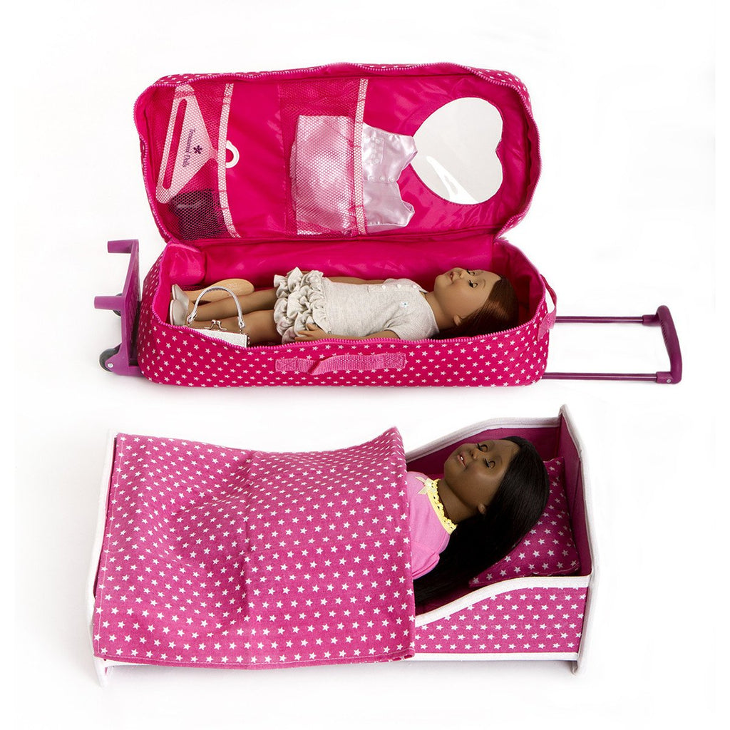 "18"" DOLL TRAVEL BAG WITH BED AND BEDDING"