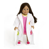 DOLLS BATHROBE SET WITH SLIPPERS AND PINK AND YELLOW NIGHT DRESS