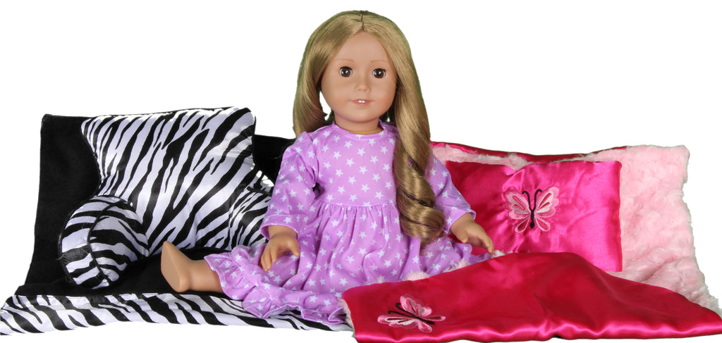 64  Magenta Satin and Pink Plushe Bedding for 18 Inch Doll.  Fits American Girl Doll