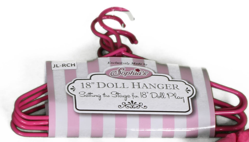 23  Set of Five Pink Metal Doll-Sized Hangers