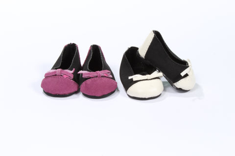 Two-Tone Suede Dress Flats with Bow