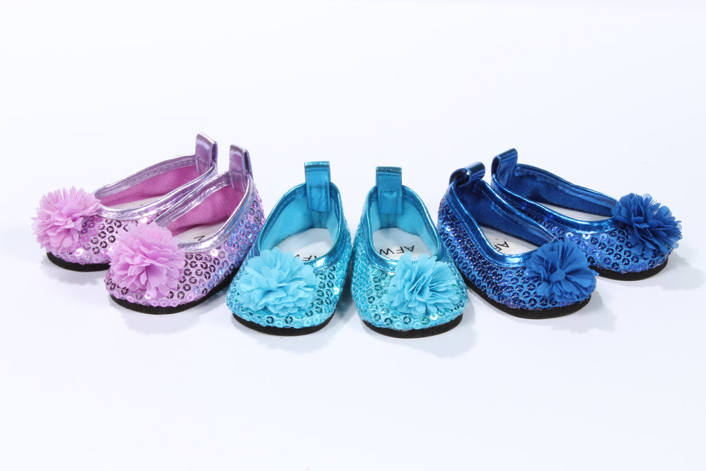 Sequin Flats with Flower Toe