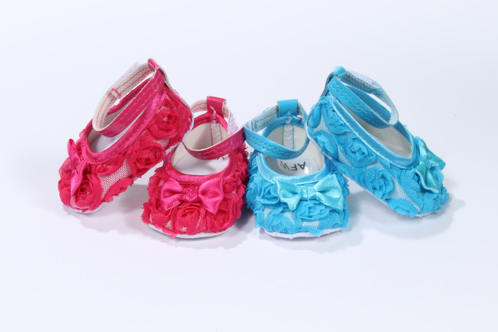 Floral Rosebud Shoes with Bow