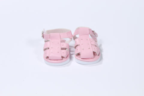 Sturdy Pink Leather-Like Sandals