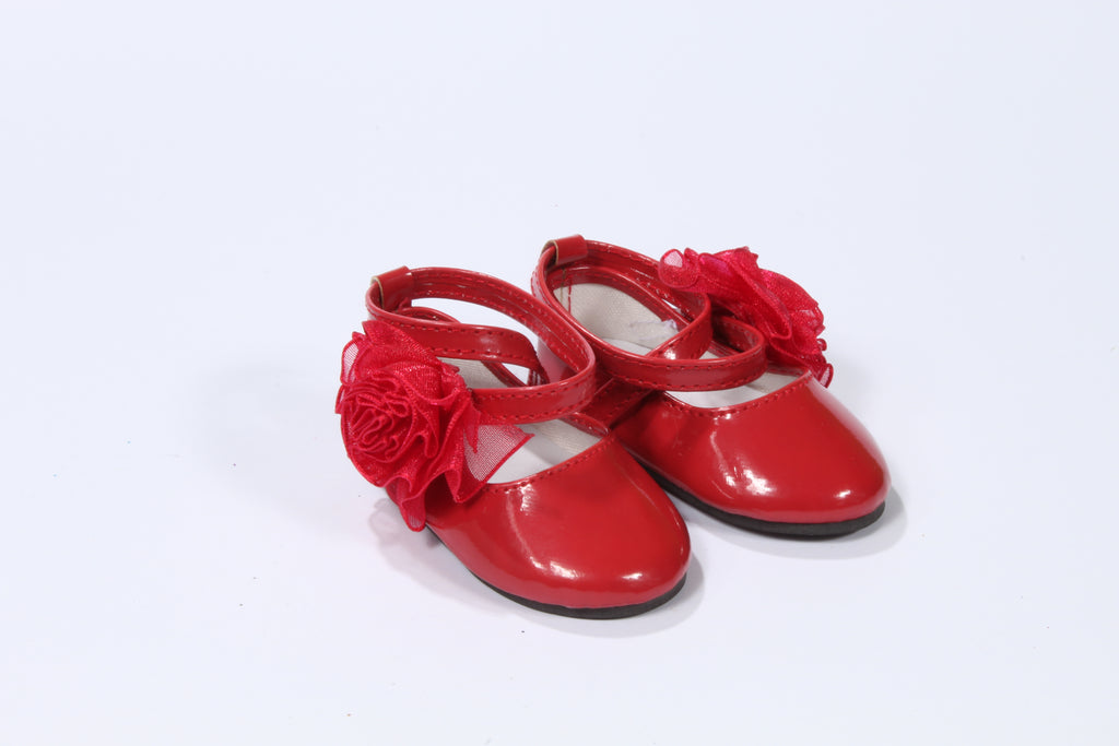 Red Cross-Strap Shoes with Large Rosette