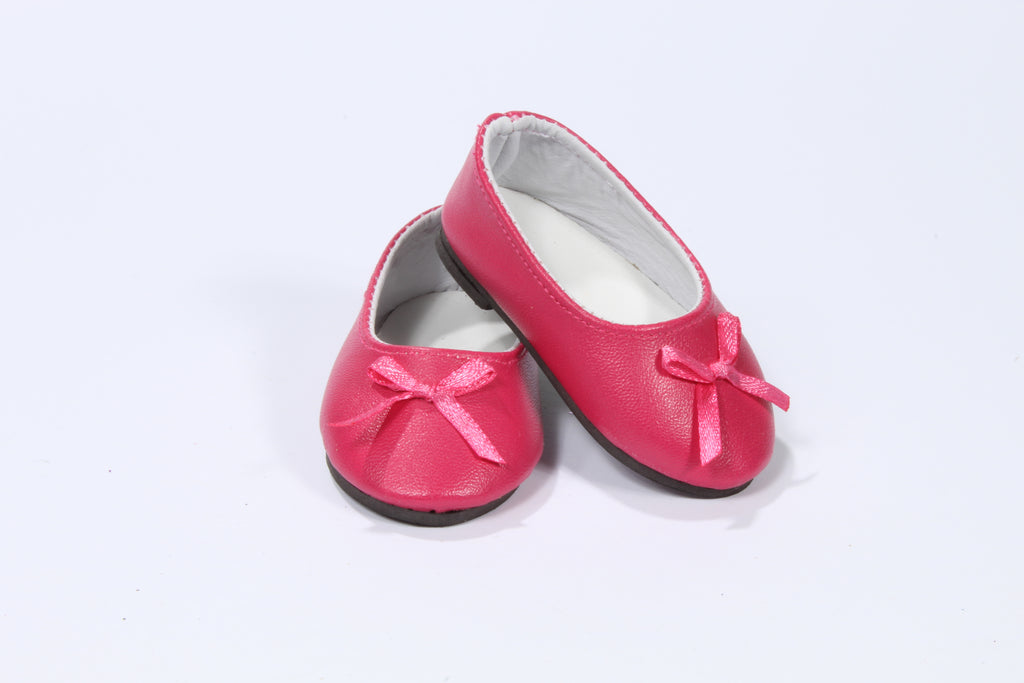 Dark Pink Leather-Like Flats with Bow