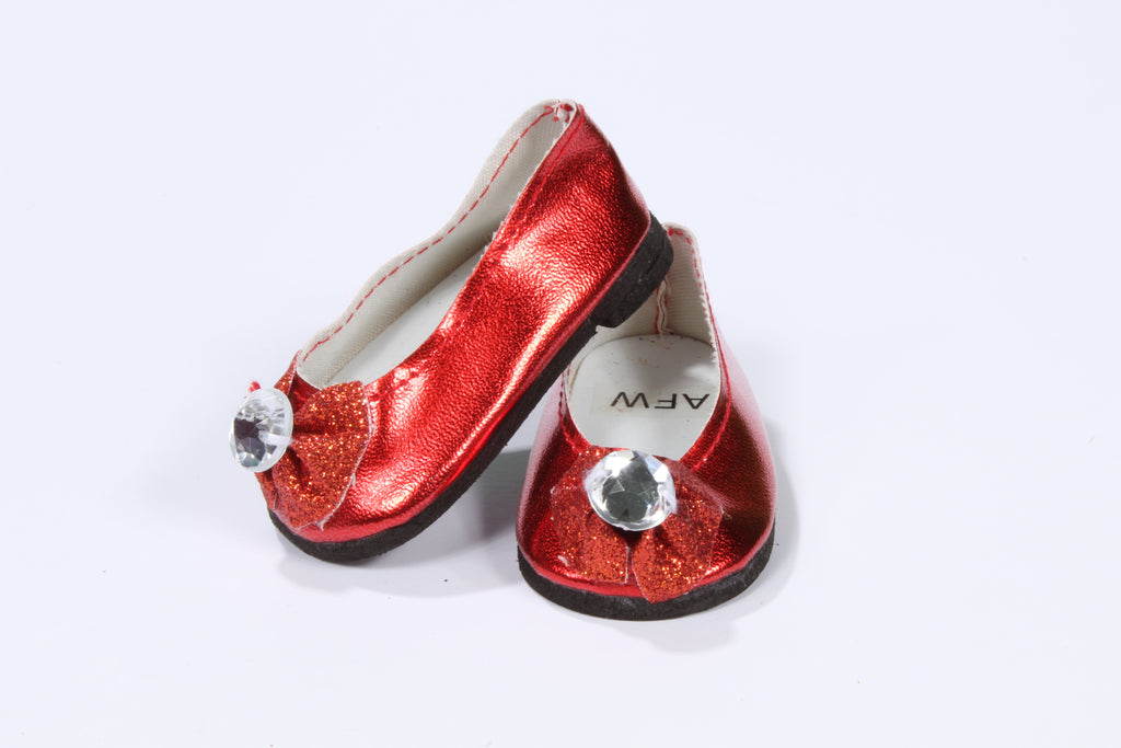 Shiny Red Slippers with Jeweled Bow
