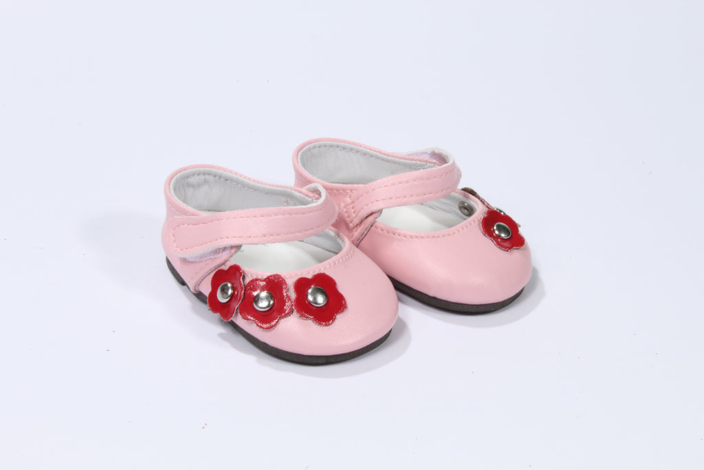 Lovely Pink Strap Shoes with Red Flower Accents