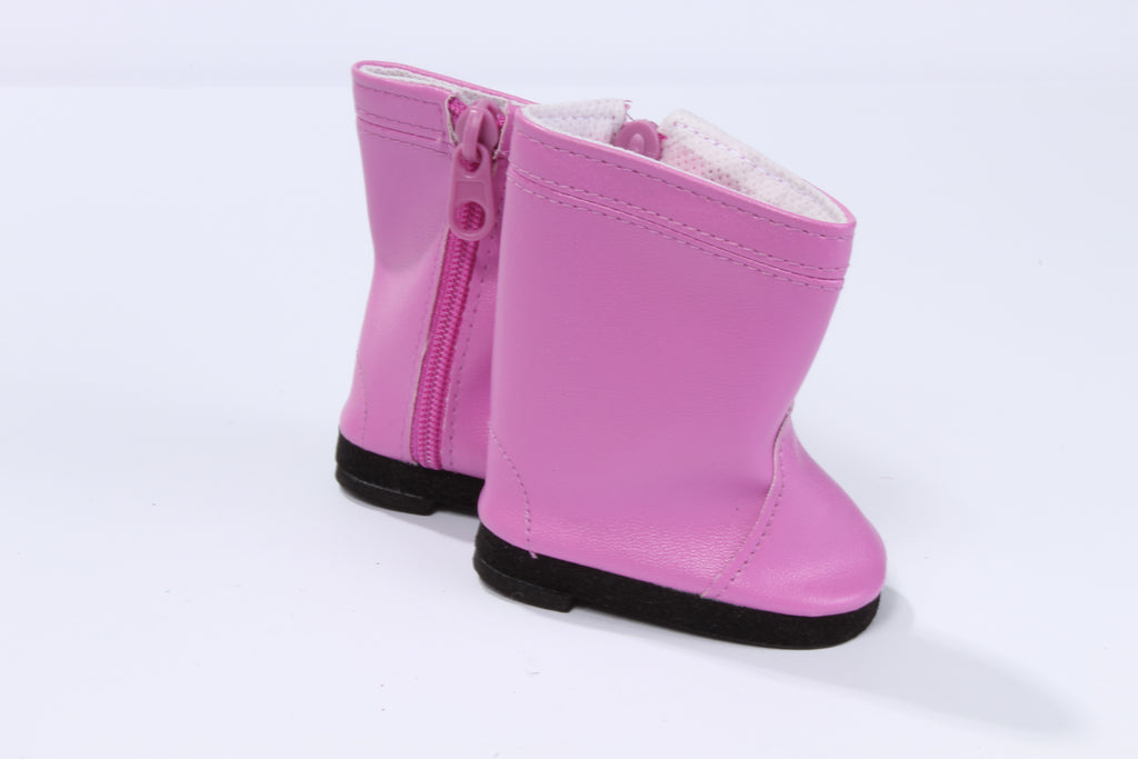 Pink Leather-Like Boots