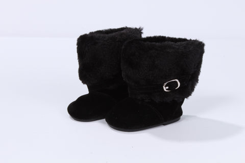 Black Boots with Fur Top and Buckle