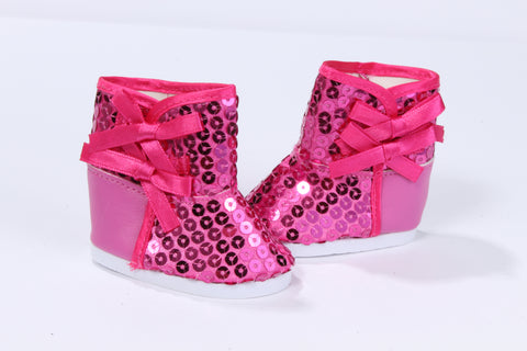 Magenta Sequins Boots with Bows