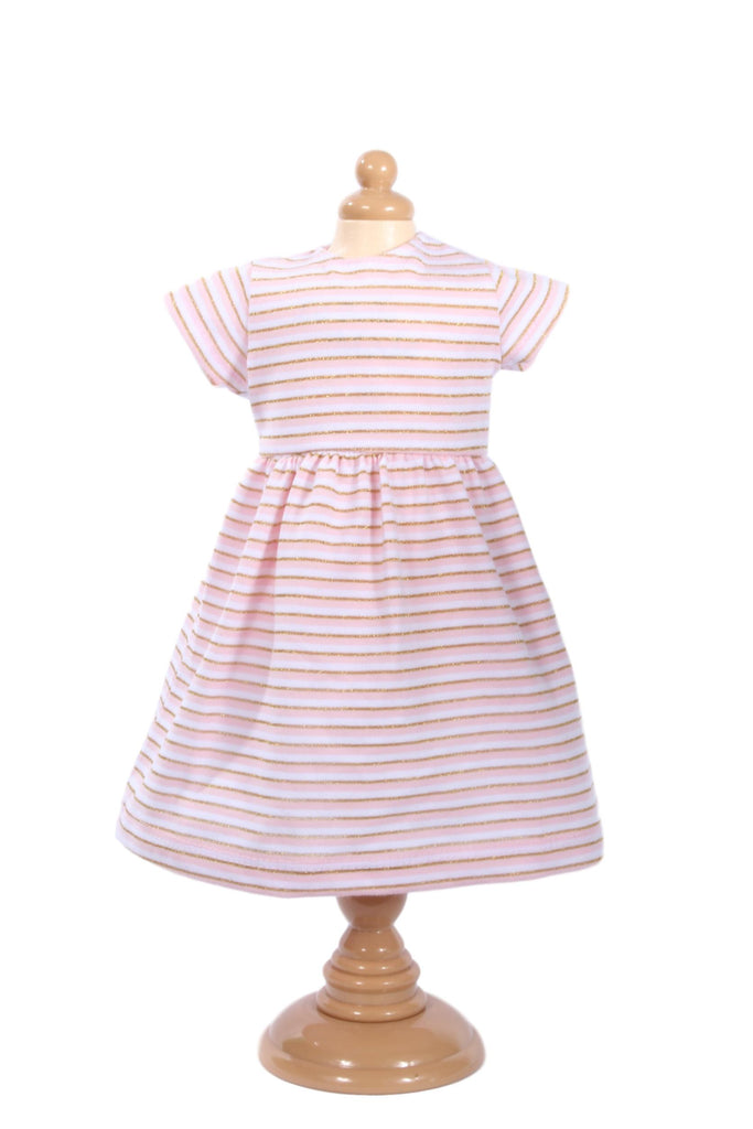 03  Pink and Gold Stripe T-shirt Dress