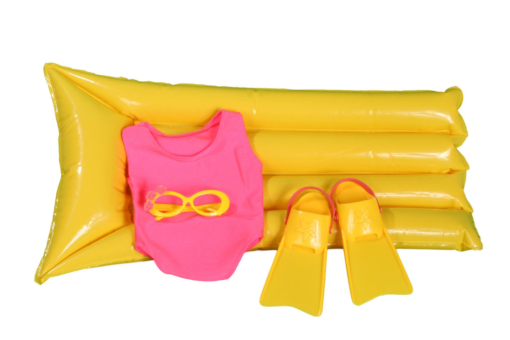 Four Piece Swim Set with Air Mattress, Flippers, Tropical Sunglasses and Hot Pink Bathing Suit