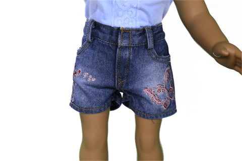 Denim Butterfly Shorts