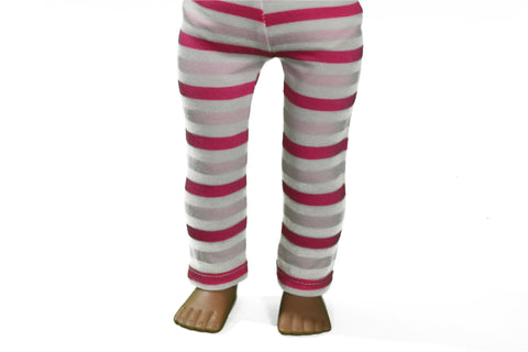 Light Pink and Magenta Striped Leggings