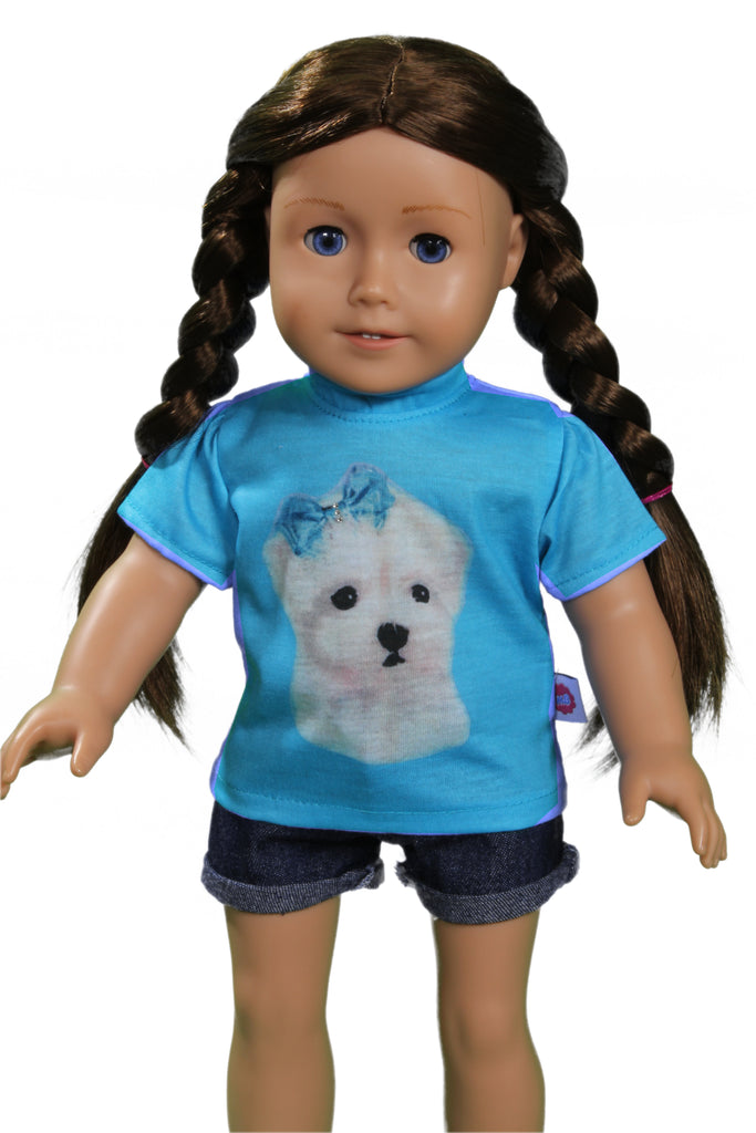 Blue t-shirt with puppy