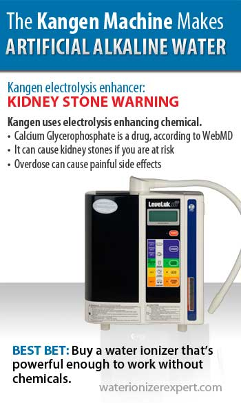 Kangen water machine makes artificial alkaline water