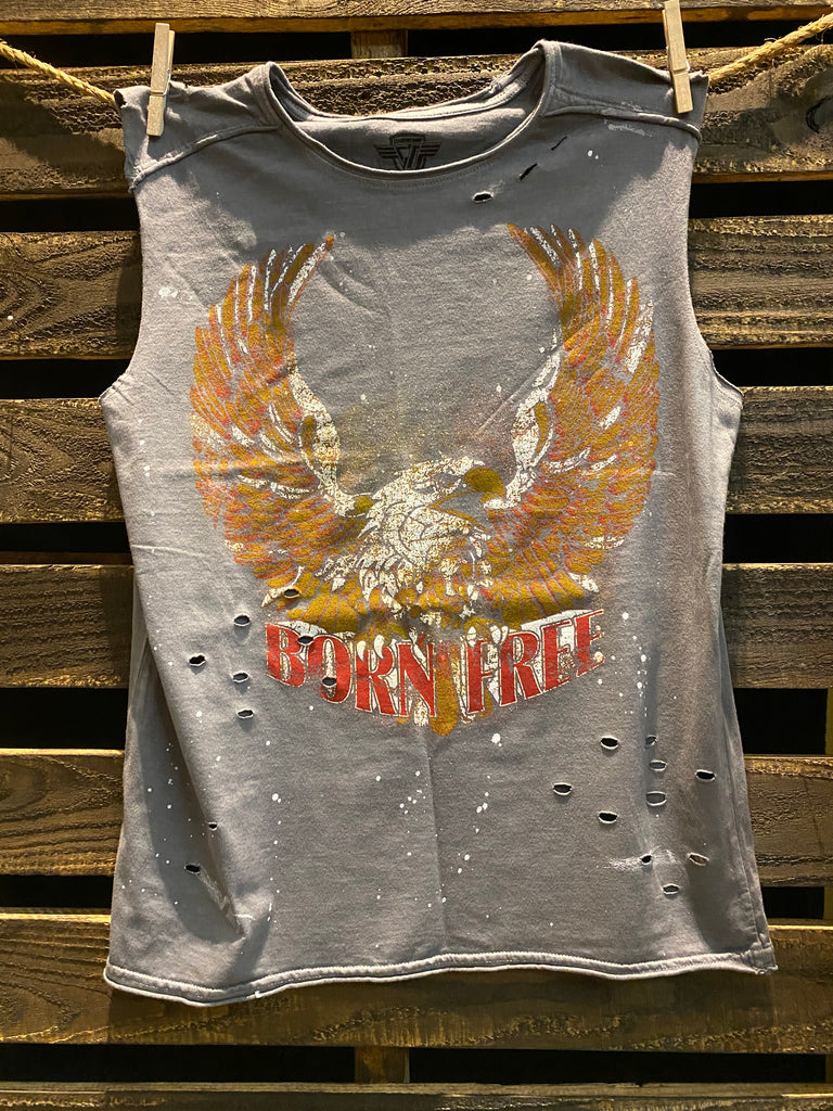 Born Free Acid Wash distressed Splatter detail Muscle Top