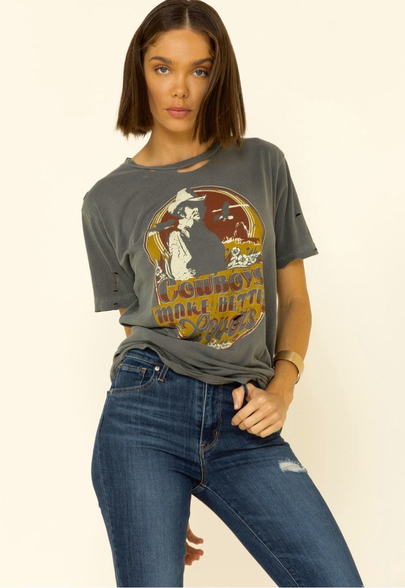 Cowboys Make Better Lovers Distressed T-Shirt