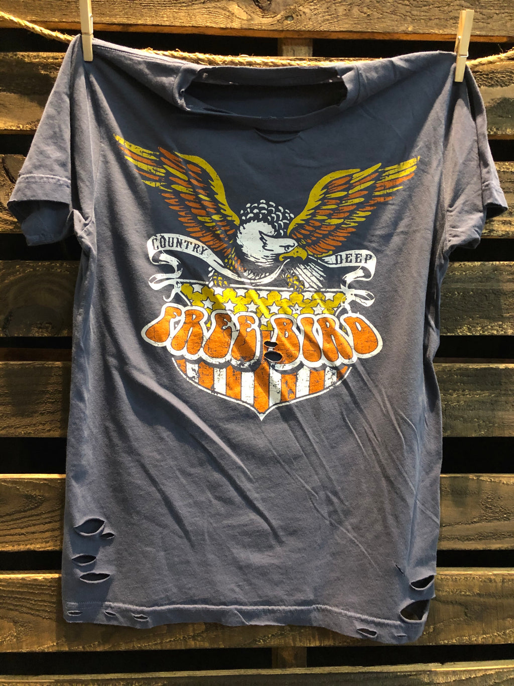 Free Bird Shield Distressed Vintage Unisex T shirt