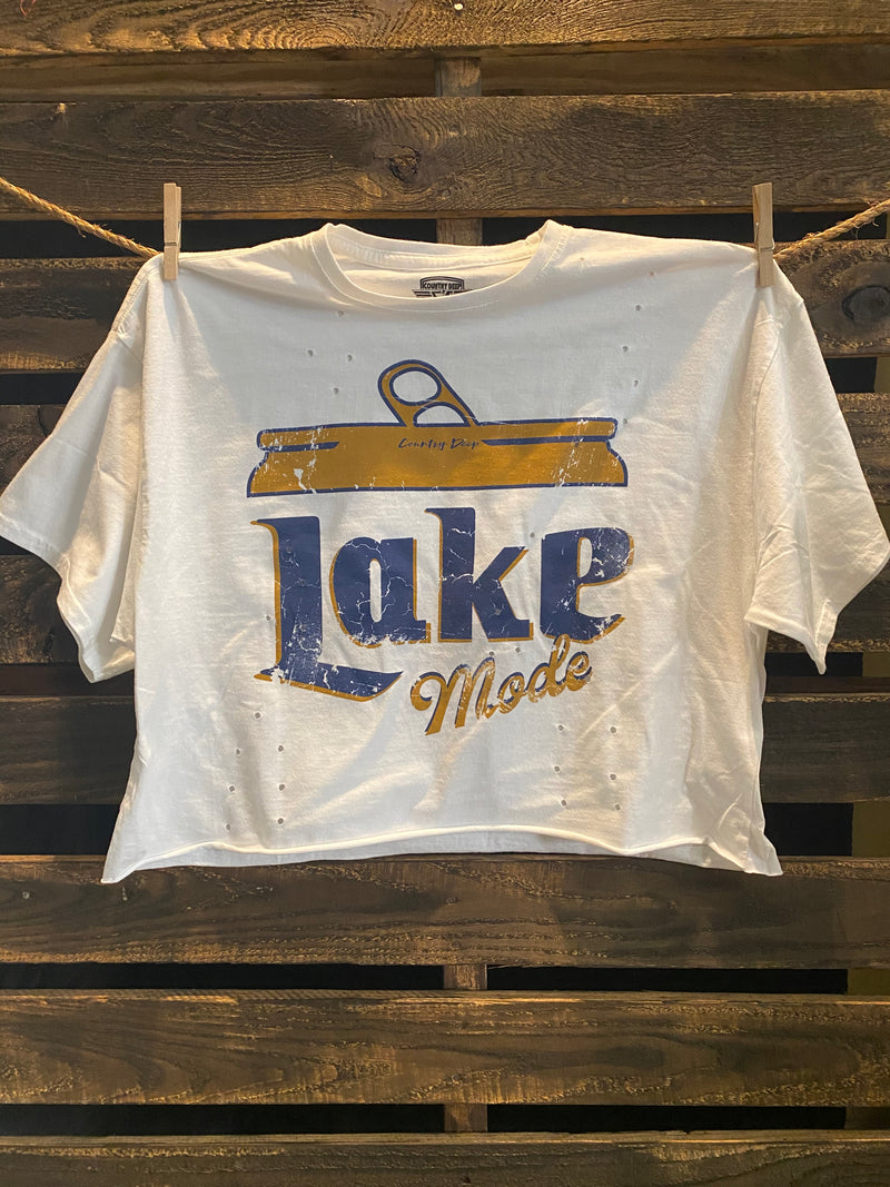 Lake Mode OVERSIZED 90's vibe distressed Cropped  T- shirt