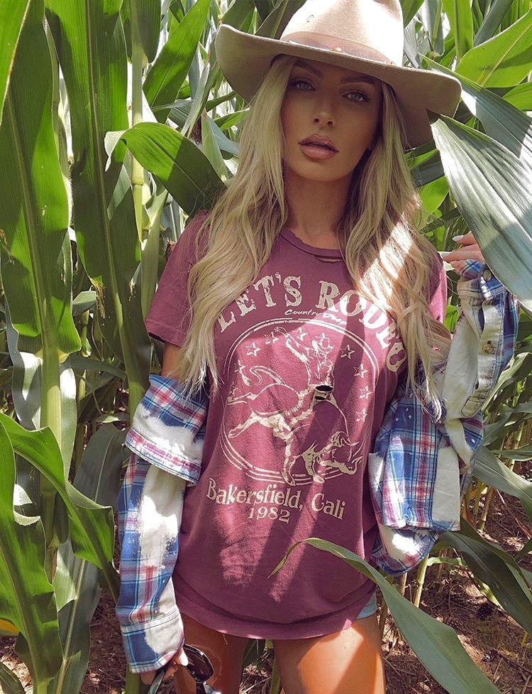 Let's Rodeo Bakersfield California vintage 1982 distressed Tee