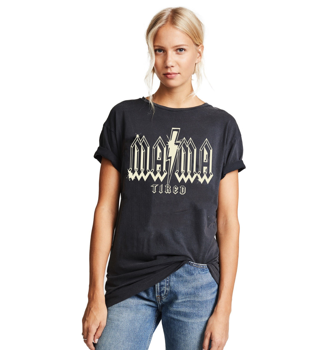 Mama TIRED mineral wash unisex T shirt
